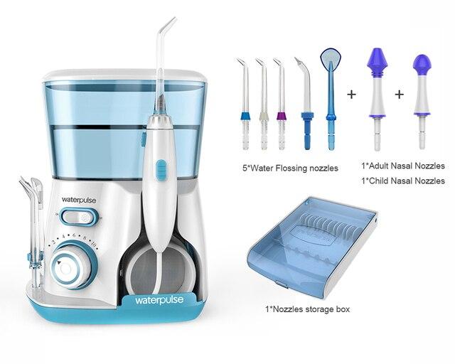 Irrigador Dental de 10 niveles de agua bucal, 20-120PSI V300G DE AGUA + 5 boquillas, herramientas de higiene bucal de 800 ml para limpiar los dientes