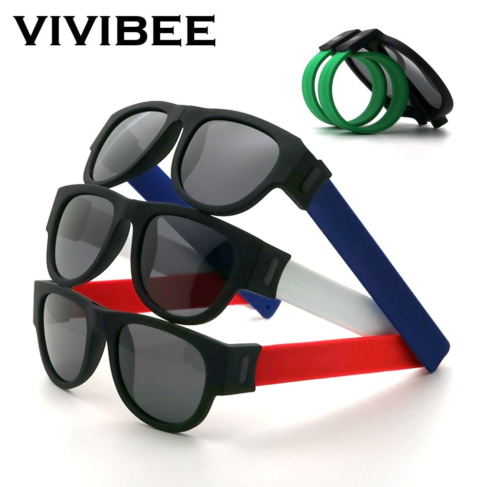 Fancy Slap Wristband Men Polarized Wrist Sunglasses Folding Women Roll Bracelet 2020 Trend Foldablen Square Sun Glasses