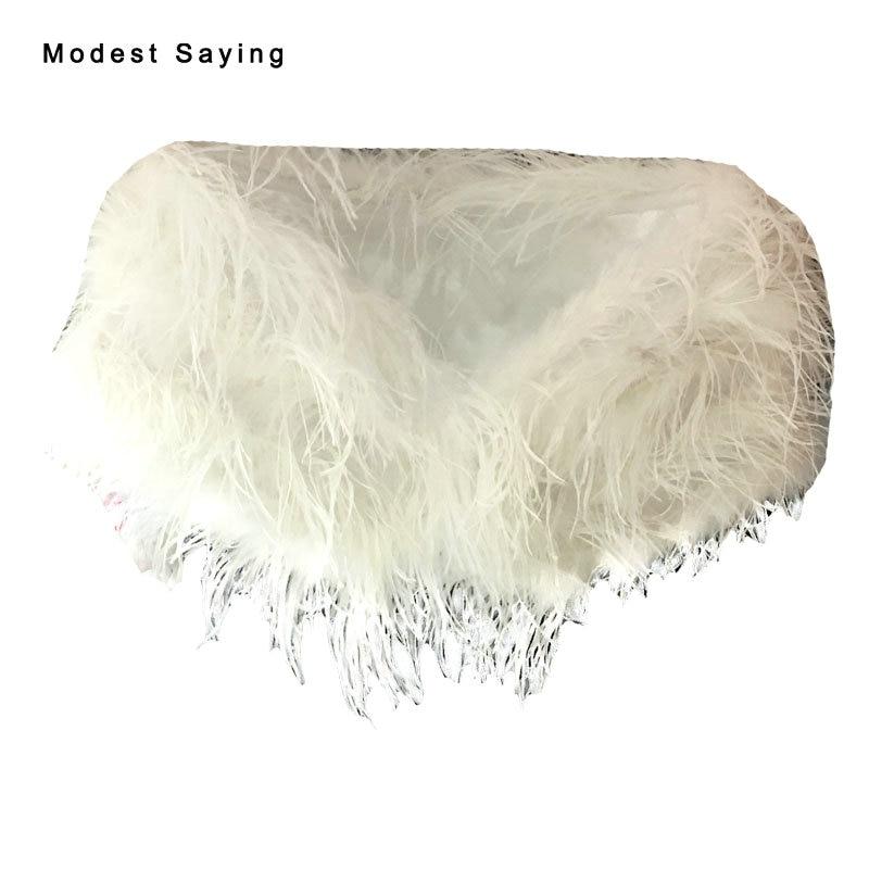 ᑐLujo avestruz Plumas boda Pieles de animales Bolero para novias ...