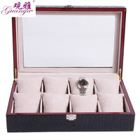 Guanya HOT Sale 8 Grids Watch Display Box Wooden bracket Box jewelry Storage Box With Lock mirror leather Watch Case Box