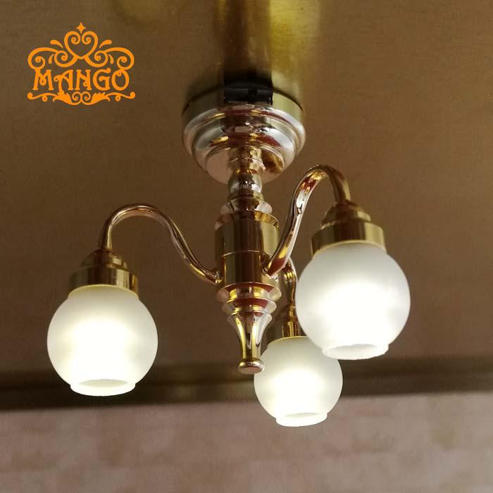 Free shipping 112 dollhouse miniature furniture brass electric free shipping 112 dollhouse miniature furniture brass electric chandelier 3 arm lamp ceiling light with 24k gold plated led in furniture toys from toys aloadofball Choice Image