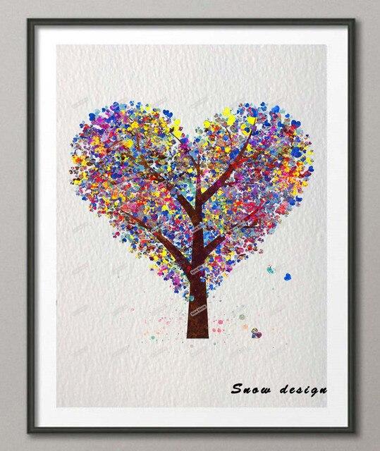 Heart Tree Original watercolor canvas painting Pop wall art poster ...