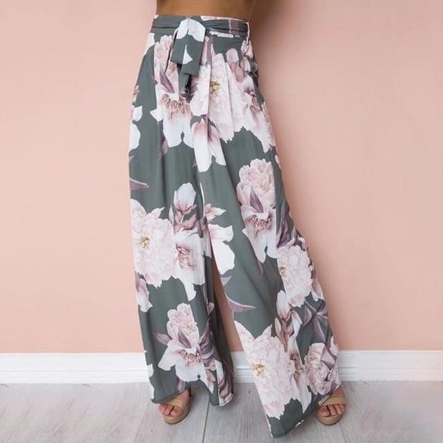 75f286e742a Bohemian Womens Floral Palazzo Pants High Waist Wide Leg Pant Waist Belt  Culottes Casual Long Trousers For Women