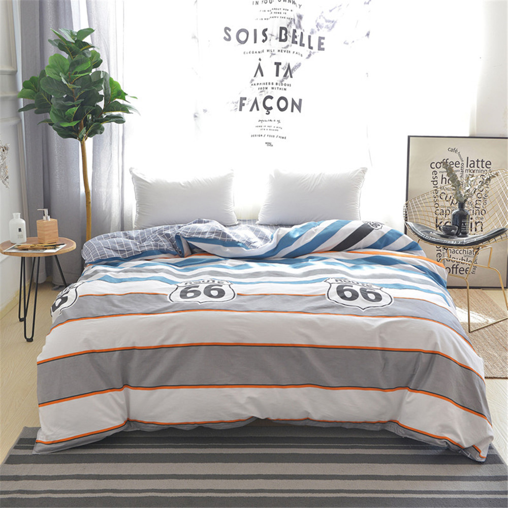 Stripe Number 66 Pattern Back lattice Blue White Duvet Cover Kids Cotton Soft Bedding 1pcs Single Twin Full Queen King Size Stripe Number 66 Pattern Back lattice Blue White Duvet Cover Kids Cotton Soft Bedding 1pcs Single Twin Full Queen King Size