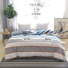 Stripe Number 66 Pattern Back lattice Blue White Duvet Cover Kids Cotton Soft Bedding 1pcs Single Twin Full Queen King Size(China)