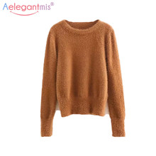e0f7ca8a26 Aelegantmis 2018 Autumn Winter Warm Furry Knitted Sweater Women Elegant  Solid Black White Pullover Sweaters Ladies Knit Jumper