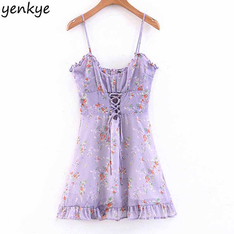 Women Sweet Floral Print Sling Sexy Dress Lady Backless Sleeveless Front Lace Up Ruffle A-line Mini Summer Holiday Beach Dress