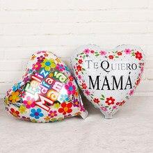 5 pc 18 polegada Espanhol coração Balões Folha Feliz dia Mamãe Mamãe Te Quiero Decorações da Festa de Aniversário do Dia das Mães adulto de Hélio Globos