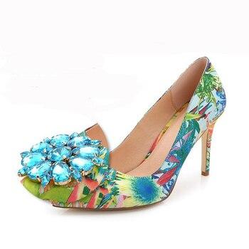 2019 Brand Women Pumps Fashion Rhinestone Pointed Thin High-heeled Women Shoes Plus Size High Heels Single Wedding Shoes XP30 8