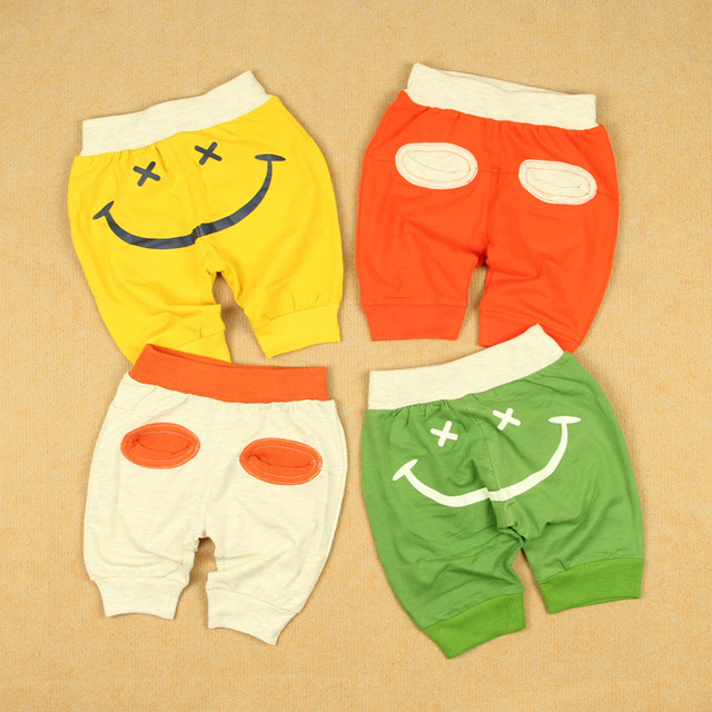 Big pp shorts smiley capris knee-length pants harem pants male female child thin openable-crotch modal cotton trousers
