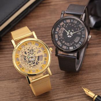 Fashion watch men Skeleton Watch Men Stainless Steel Mesh Band Quartz Wristwatch Clock Relojes Mujer Reloj Hombre dropshipping