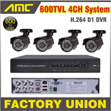 4ch Channel CCTV Kit 600TVL Outdoor and Dome Cameras Surveillance Security Camera CCTV System 4 Channel DVR Recorder