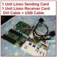 Linsn 801/802 система управления 1 отправка карты sd801D/sd802D+ 1 Получение карты rv801D/RV908D+ hub75 карта+ dvi кабели, usb кабели