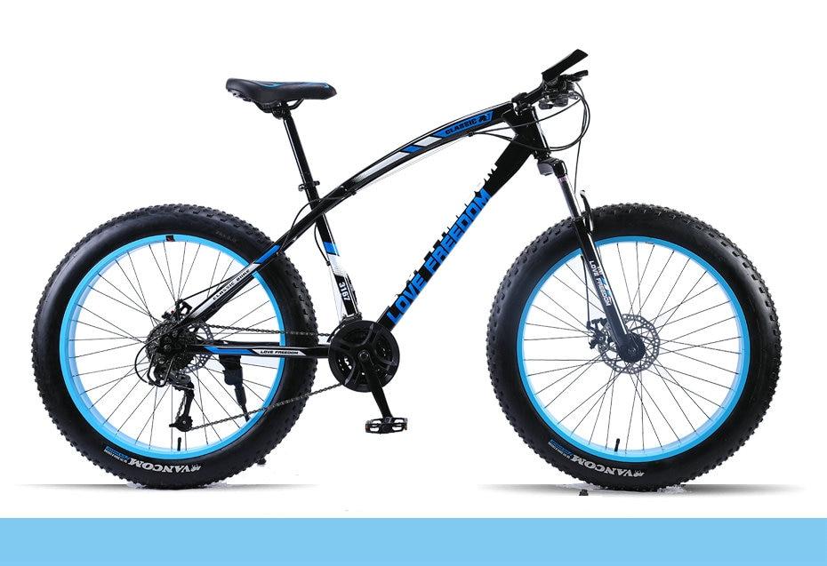 "HTB1JyzZeq5s3KVjSZFNq6AD3FXa4 Love Freedom Mountain Bike 7 Speeds, 21Speeds .24 Speeds .27 Speeds Fat Bike 26x4.0""  Off-road gear reduction Beach Bike"