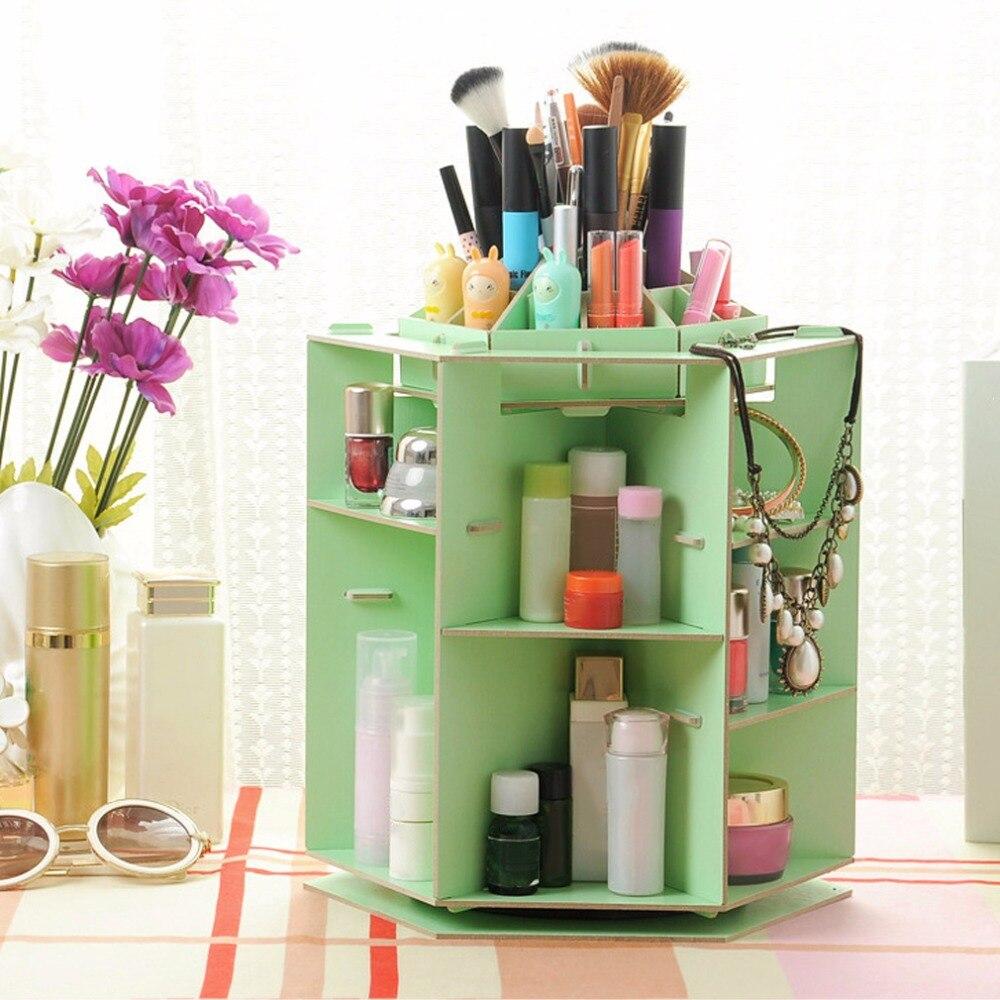 2018 Top Sale Wooden 360 Degrees Rotatable Makeup Cosmetics Jewelry Storage Box Case Organizer For Cosmetics Dresser Desktop