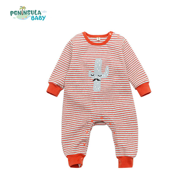 a0674433bef9 Spring Newborn Kids Baby Boys Girls Clothes Striped Rompers Warm ...