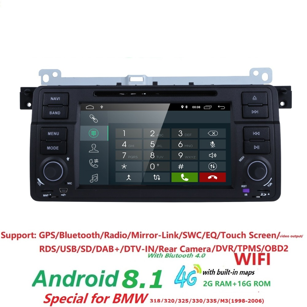 Android 8.1 Quad core HD 1024*600 écran 2 DIN Voiture DVD GPS Radio stéréo Pour BMW E46 M3 wifi 4g GPS USB CFC AUDIO DVB-T BLUETOOTH