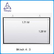 Thinyou 84 Zoll 16: 9 HD Projektor-Schirm-tragbares weißes manuelles Ziehen unten für Büro-Geschäfts-diagonales Aspekt-Verhältnis 4: 3