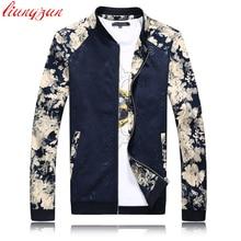 Men Fashion Jackets Plus Size Slim Fit Baseball Jacket Coats Brand Design Floral Cotton Autumn Spring
