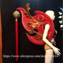 Китайский красный Secret Catwalk Костюмы Sexy Lady для ночных клубов и вечеринок Этап одежда вечернее платье одежда Для женщин Костюмы для бальных танцев костюм