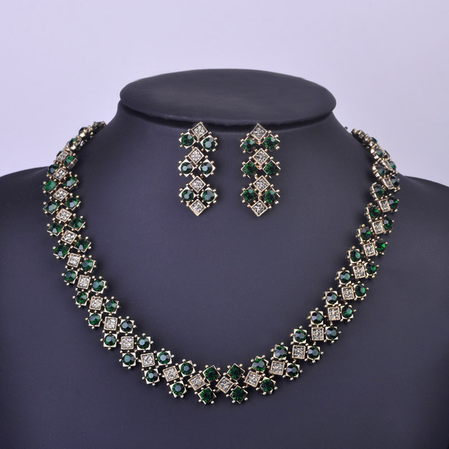 Madrry Nupcial Joyería de La Boda Fija el Collar y Aretes de Oro Antiguo Plateado Collar de diamantes de Imitación Conjunto Boucle d'oreille Schmuck