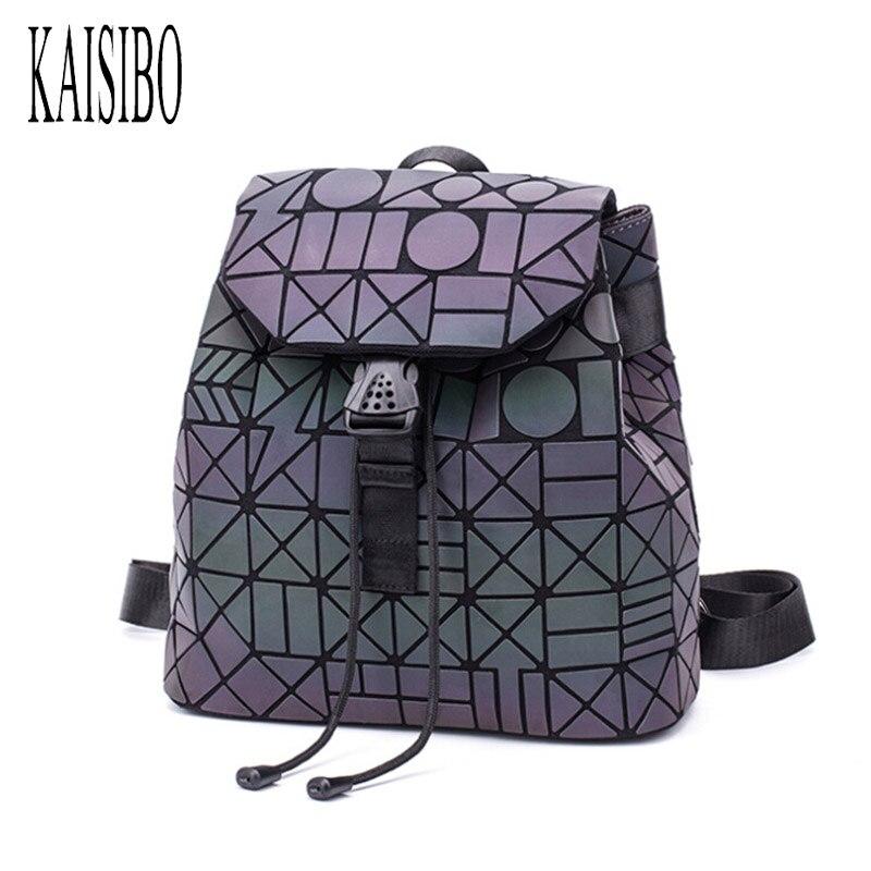 Kaisibo 2019 New Luminous Backpack Women Pu Travel Bagpack Geometric School Bags For Teenage Girls Folding Backpacks Mochila