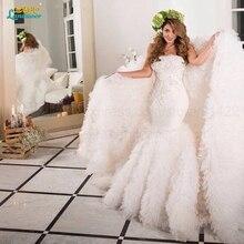 Vestido de noiva sereia 2016 Gorgeous Cathedral long train Mermaid Wedding Dresses Beads Bridal Gowns Casamento Robe de mariage