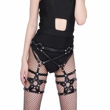 Coscreep Coscreepy star shape strap suspnders gothic 100% handmade PU LEATHER HARNESS