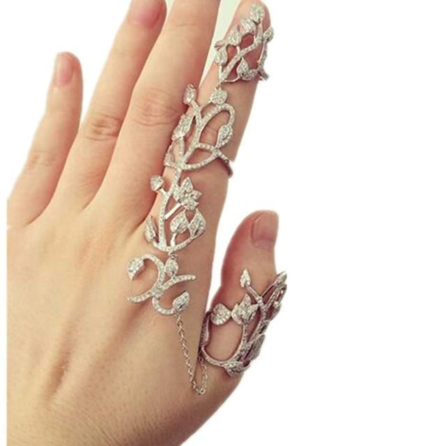 Shadela Gold and Silver Flower Finger Long Ring CR056-in ...