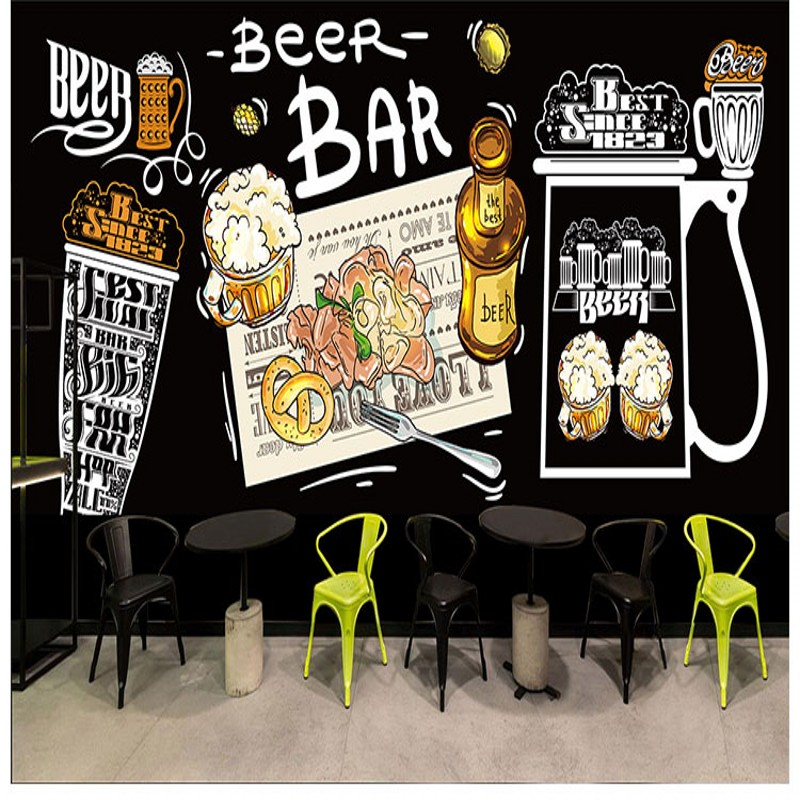 Custom photo wallpaper Hand painted American beer graffiti wallpaper bar KTV restaurant Barbecue shop wallpaper custom mural free shipping european wine cellar wallpaper ktv bar restaurant industry lounge hall decoration beer cup wallpaper mural