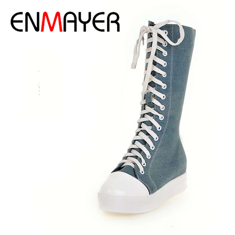 ФОТО ENMAYER New Med Heels Demin Mid-calf Boots Shoes Woman Winter Warm Fashion Boots Big Size 34-43Lace-Up Black BLue Platform Shoes