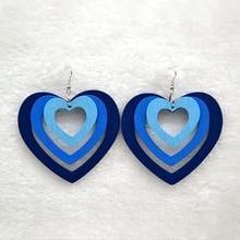Simple Heart Multi-layer Wooden Earrings Geometric Hollow Multicolor Ethnic Hanging Dangle Drop for Women Jewelry