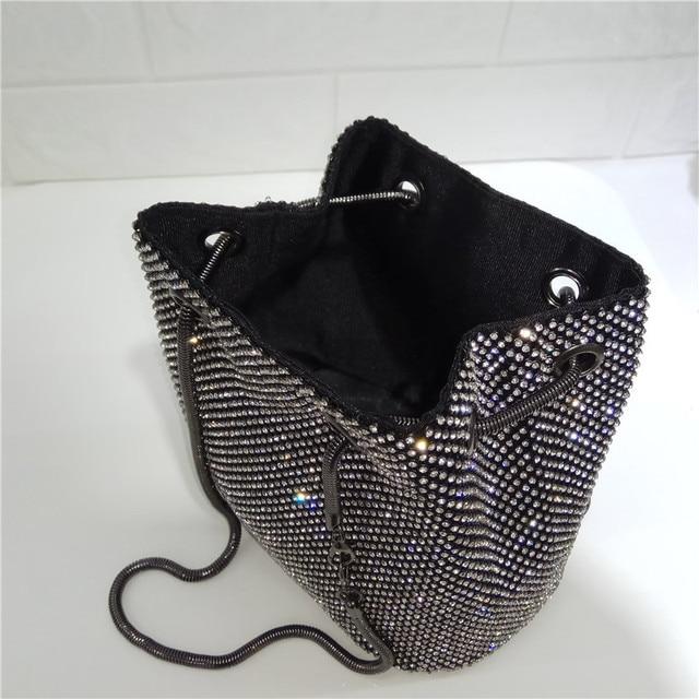 DOYUTIG Brand Shining Women PU Leather Bucket Bags With White Diamond Luxury Lady Mini Size Crystal Shoulder&Crossbody Bag A202 4