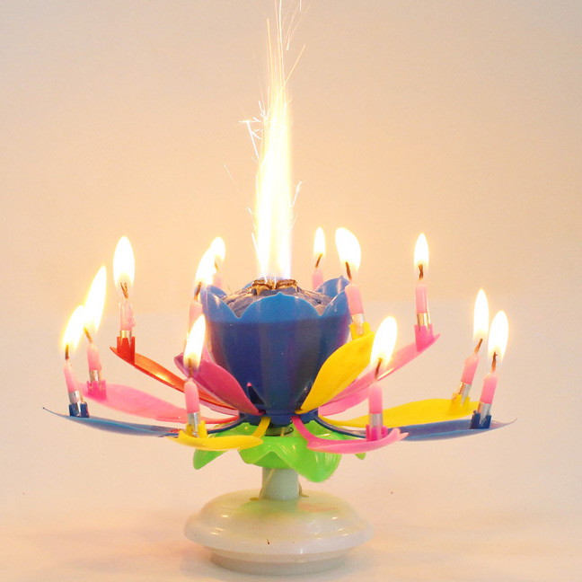 Music Birthday Candle Firework Musical Lotus Rotating Happy Flower Colorful Rainbow Double Layer 14 Petal In