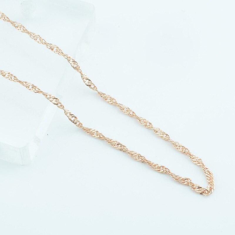 1 Stücke Beliebte Frauen Mädchen 49 Cm 585 Rose Gold Farbe Kette 2mm Dünne Anhänger Welle Halskette Schmuck Weich Und Leicht
