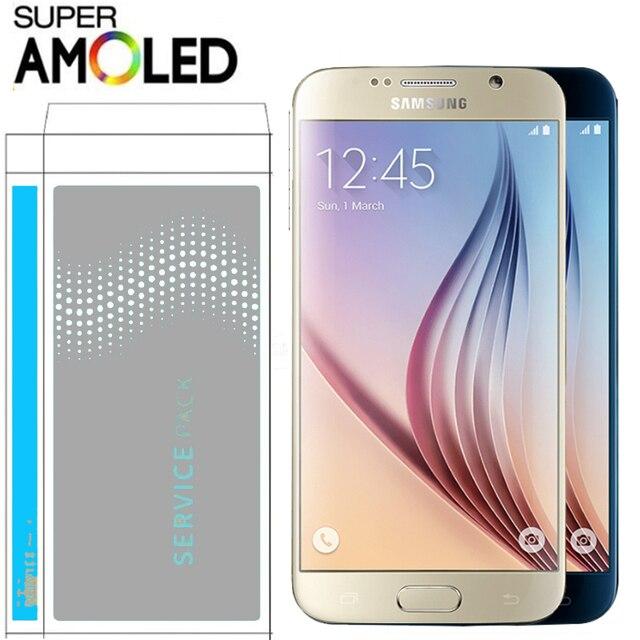 100% الأصلي 5.1 ''سوبر AMOLED LCD مع الإطار لسامسونج غالاكسي S6 عرض G920 G920F مجموعة المحولات الرقمية لشاشة تعمل بلمس
