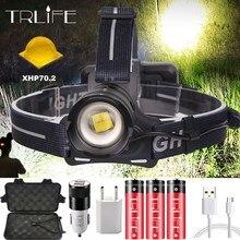 70000LM Led Headlamp XHP70.2 XPL-V6 USB Rechargeable Headlight The Best Brightest Powerful Head Lamp Fishing Flashlight Lantern