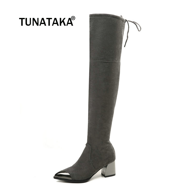 Women Suede Slip On Comfortable Square Heel Over The Knee Boots Fashion Pointed Toe Thigh Elastic Boots Black Gray