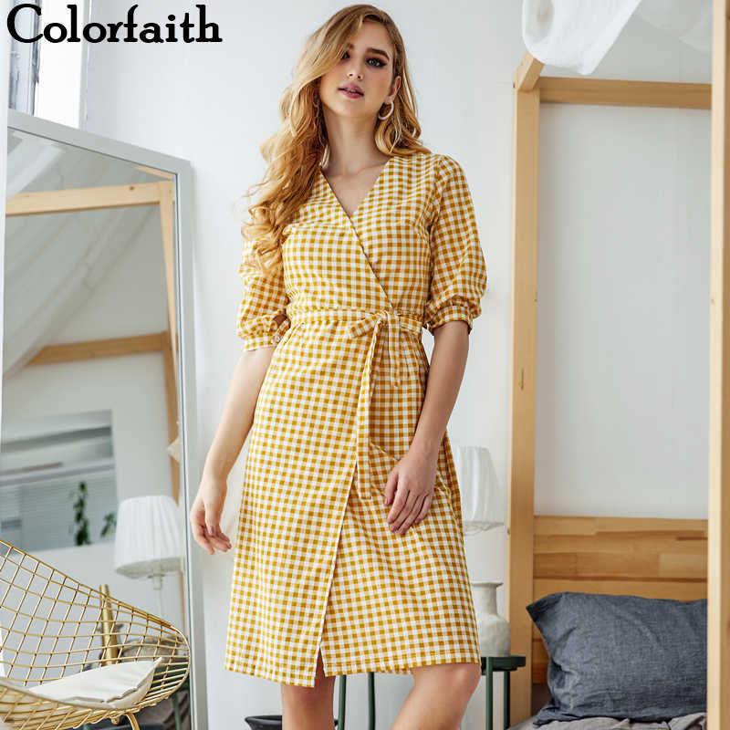 Colorfaith, новинка 2019, женские платья, весна-лето, с v-образным вырезом, клетчатые платья, асимметричные, льняные, повседневные, для девушек, пэчворк, на шнуровке, с бантом, DR122