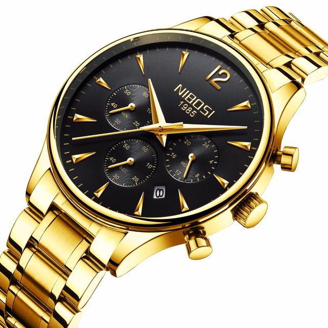 f55bb69b5e0 2018 NIBOSI Ouro Relógio De Quartzo Homens Top Marca De Luxo Relógios de  Moda Homem de