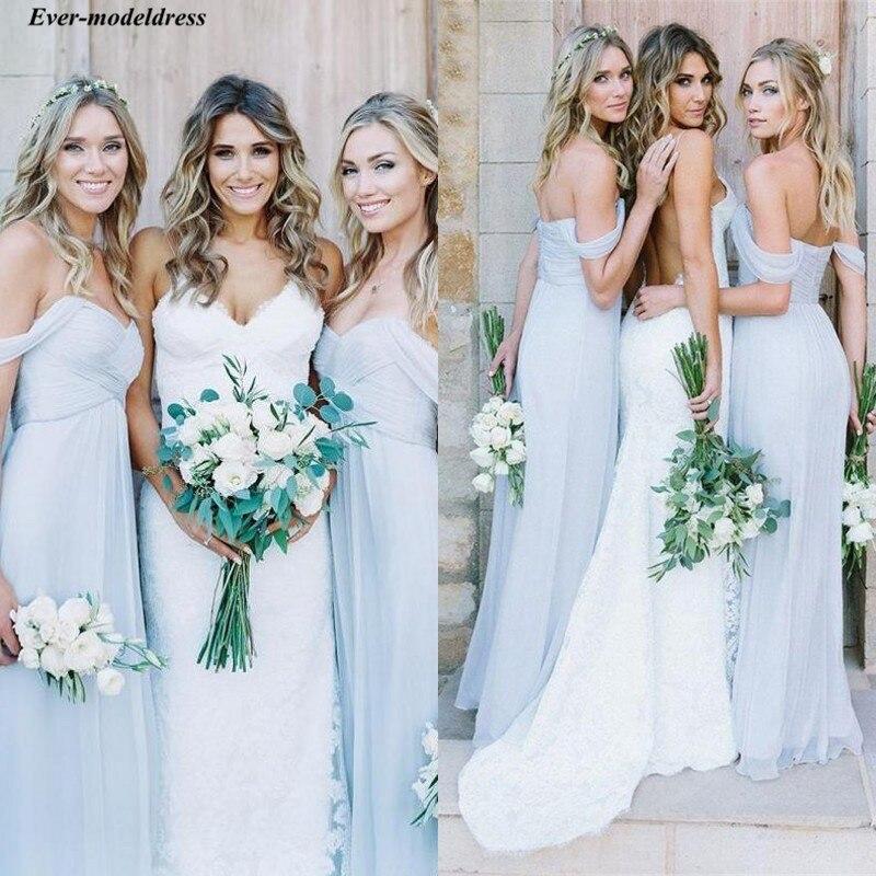 Robes de demoiselle d'honneur bohème Tulle bleu poussiéreux 2019 hors de l'épaule Western Country robes de demoiselle d'honneur d'été pour mariage