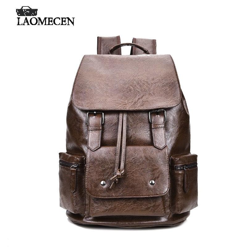 High Quality Vintage Fashion Casual Backpacks Men Leather Travel Satchel Back Pack Male Mochila British Stylish Leather Backpack