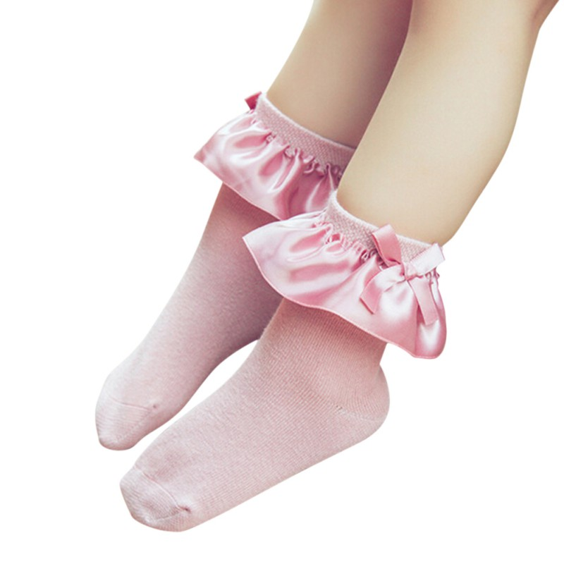 New Summer Solid Colors Cozy Retro Lace Ruffle Frilly Ankle Short Socks Kids Princess Bowkont Baby Girl Knitted Socks One Pairs