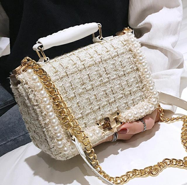 2019 Winter Fashion New Female Square Tote bag Quality Woolen Pearl Women's Designer Handbag Ladies Chain Shoulder Crossbody Bag