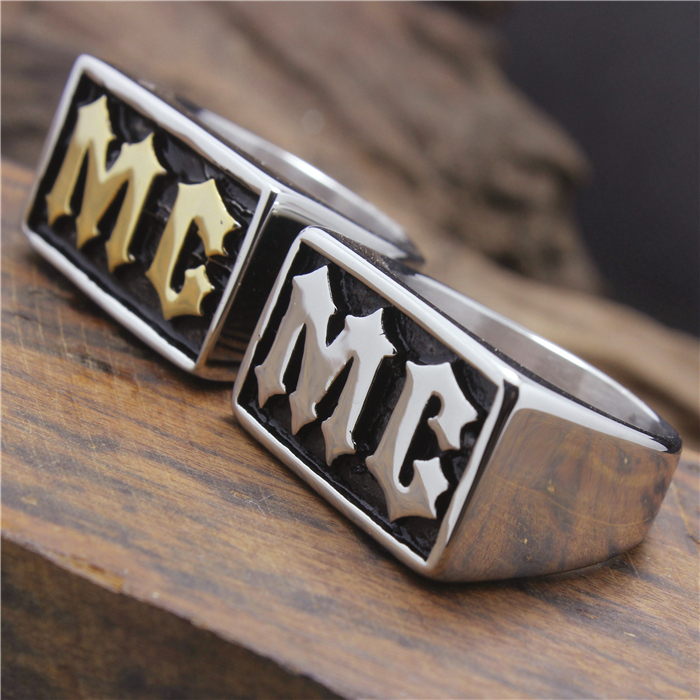 2015 Cool 316L Stainless Steel Cool Golden Silver MC Biker Ring shiying jz014 men s stylish 316l stainless steel ring silver