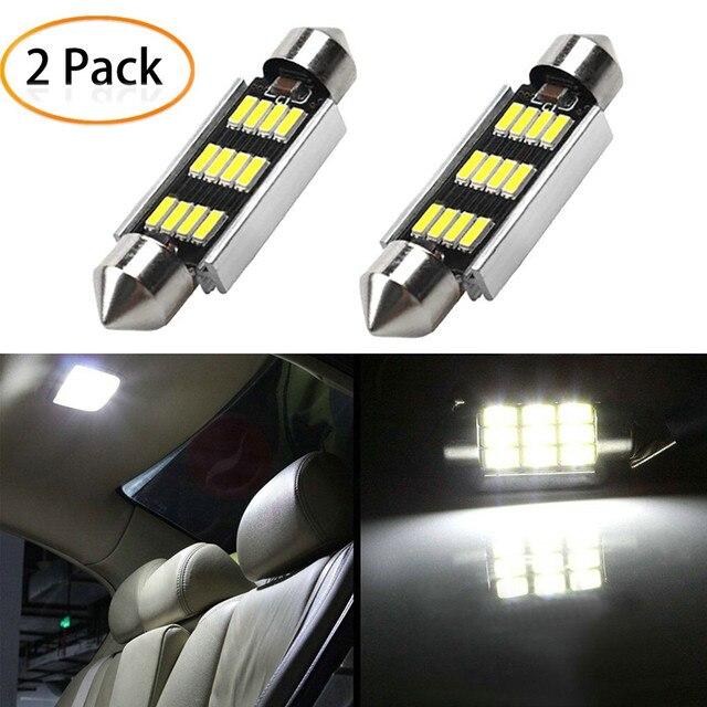 2 Chiếc 42Mm LED Ánh Sáng Trắng 6500K SMD Xe Mái Vòm Đôi Đầu Đèn Đọc Sách Mái Bóng Đèn LED đèn Cho Xe Ô Tô Bản Đồ Mái Vòm Đèn