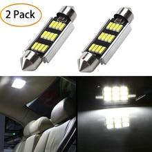 2 uds., luz LED de 42mm, 6500K, blanco, SMD, domo de coche, lámpara de lectura de doble punta, bombilla LED para techo, lámparas para mapas de coches, luces de cúpula