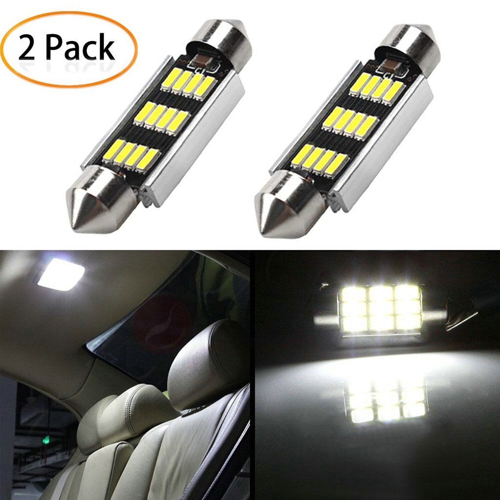 2Pcs 42mm LED Light 6500K White SMD Car Dome Double Tip Reading Lamp Roof Bulb LED Lamps For Cars Map Dome Lights-in Signal Lamp from Automobiles & Motorcycles