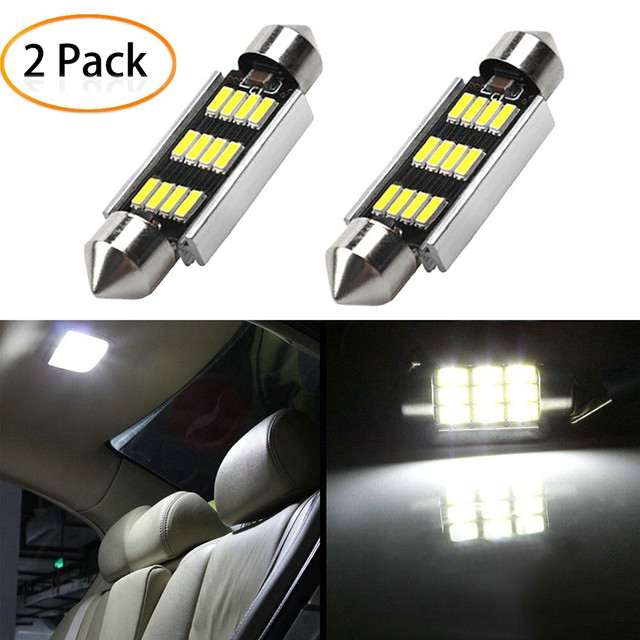2Pcs 42mm LED Light 6500K White SMD Car Dome Double Tip Reading Lamp Roof Bulb LED Lamps For Cars Map Dome Lights