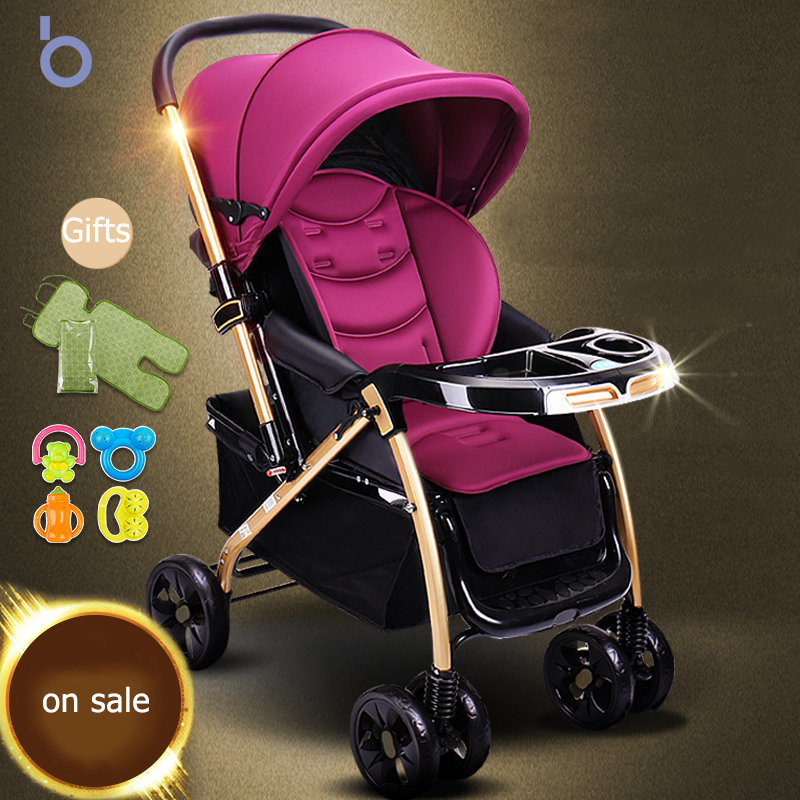 все цены на Baby Stroller Can sit and Lie trolley Light Folding Baby Cart High Landscap Baby stroller umbrella carts